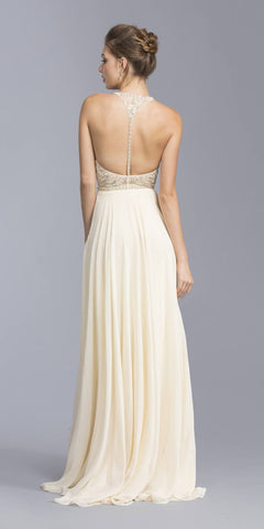 Champagne Beaded Illusion Bodice Long Formal Dress