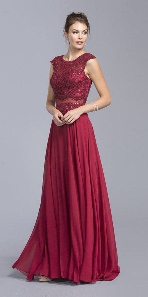 Burgundy Cap Sleeved Long Formal Dress with Sheer Midriff