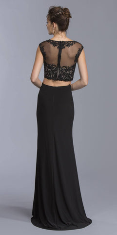 Black Two-Piece Prom Gown Cap Sleeved Illusion Crop Top