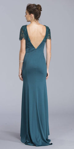 Teal V-Back Long Formal Dress with Short Lace Sleeves
