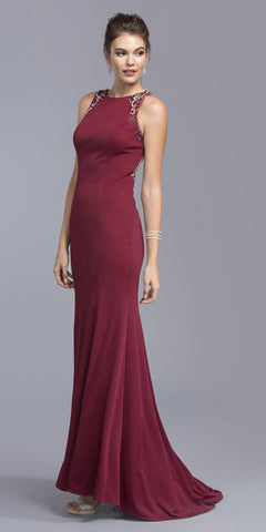 Illusion Beaded Back Long Formal Sleeveless Dress Burgundy