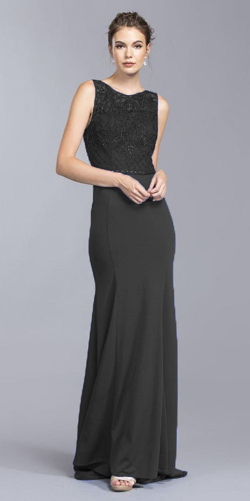Cut-Out Back Long Formal Dress Appliqued Bodice Black