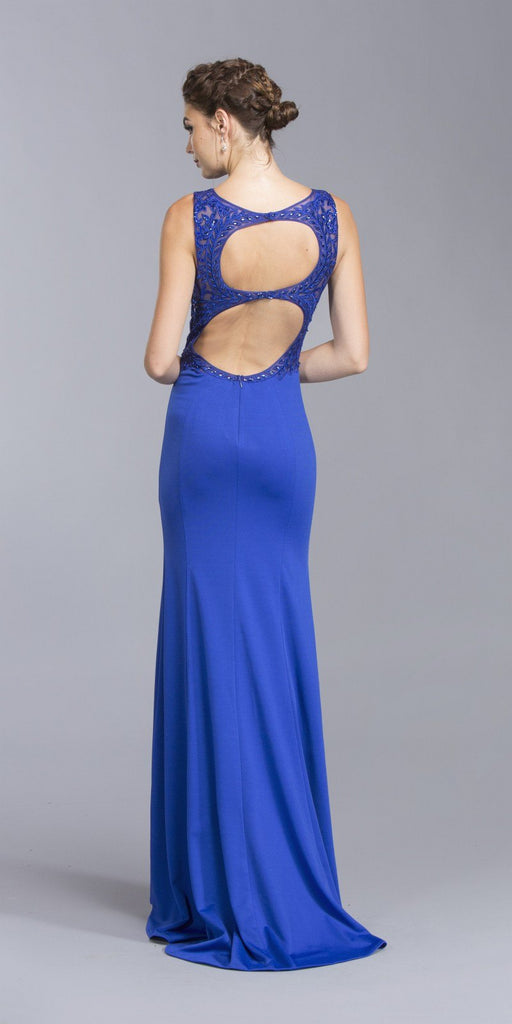 Cut-Out Back Long Formal Dress Appliqued Bodice Royal Blue