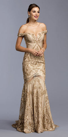 Off-the-Shoulder Mermaid Sequins Long Prom Dress Gold