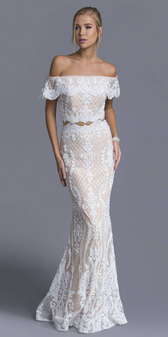 Off-the-Shoulder Appliqued Mermaid Prom Gown Off White