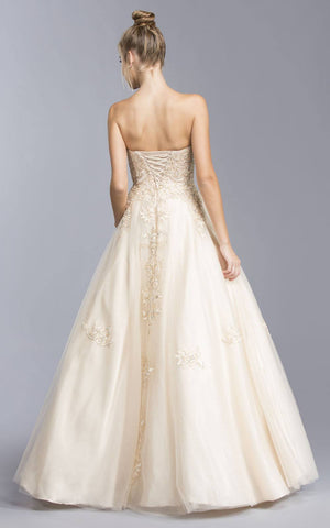 Champagne Strapless Long Prom Dress with Appliques