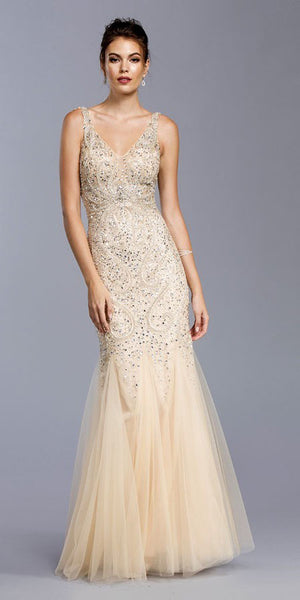 Champagne V-Neck Embellished Mermaid Long Formal Dress