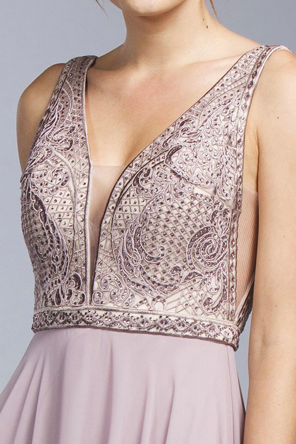 Mauve V-Neck and Back with Sheer Inset A-line Long Formal Dress