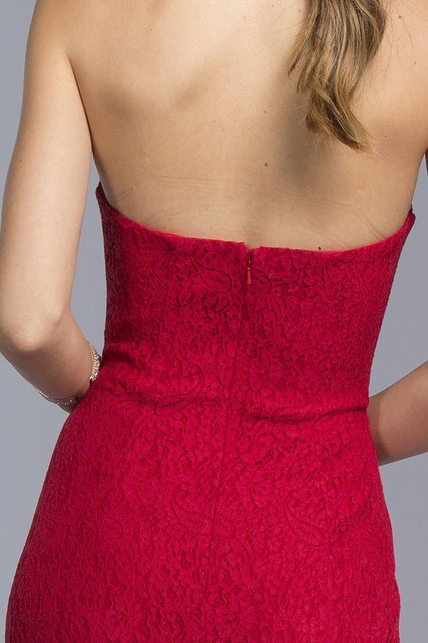 Red Floor-Length Strapless Dress with Sweetheart Neckline