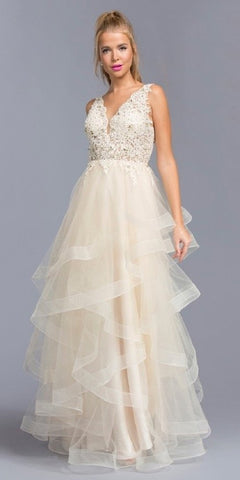 Champagne V-Neck Tiered Long Prom Dress with Appliques