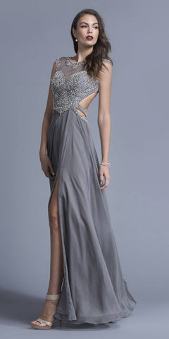 Gray A-line Beaded Long Prom Dress Cut-Out Back with Slit
