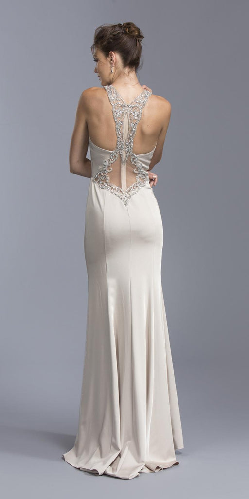 Champagne Halter Long Prom Dress Beaded Back with Keyhole