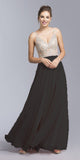 Black Illusion Bodice Beaded Long Prom Dress V-Neck
