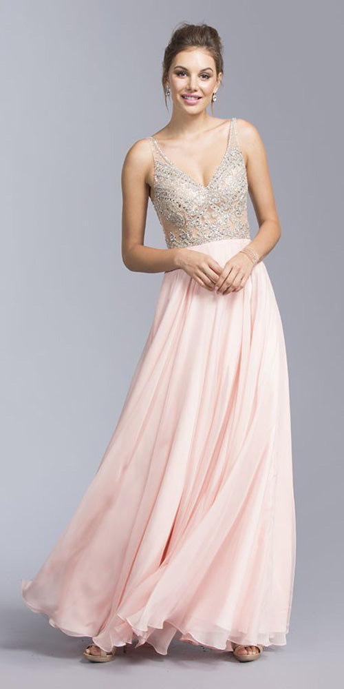 Blush Illusion Bodice Beaded Long Prom Dress V-Neck