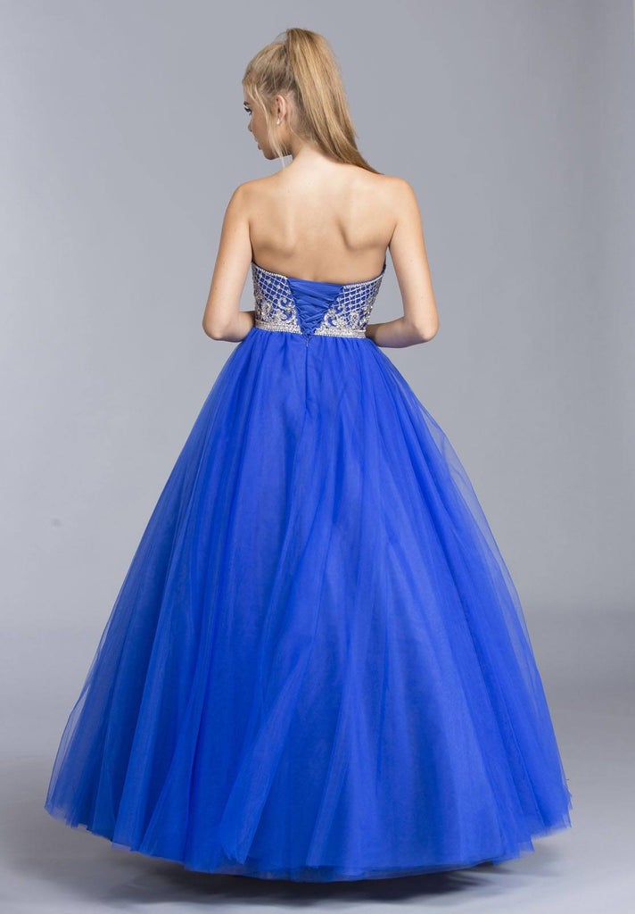 Aspeed L2056 Royal Blue Strapless Quinceanera Dress Appliqued Bodice
