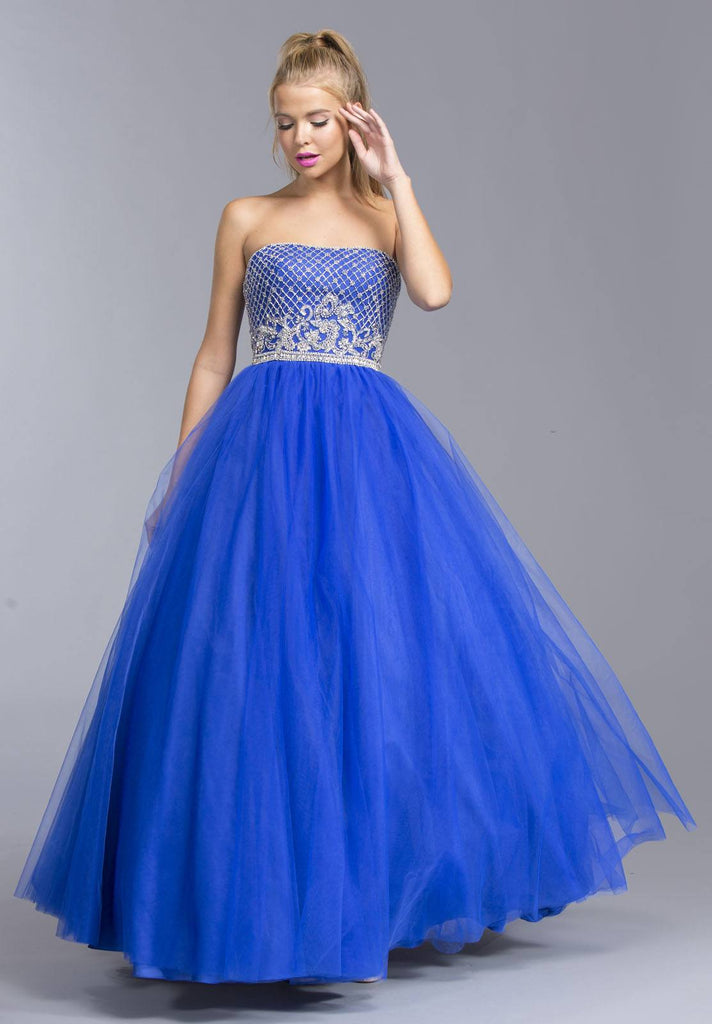 Royal Blue Strapless Quinceanera Dress Appliqued Bodice