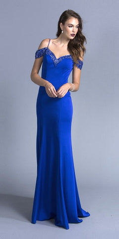 Off The Shoulder Fitted Beaded Gown Royal Blue Lace Applique