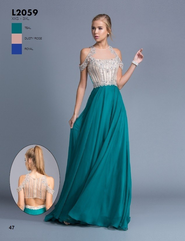 Aspeed L2059 Teal Cold Shoulder Long Prom Dress Cut-Out Back