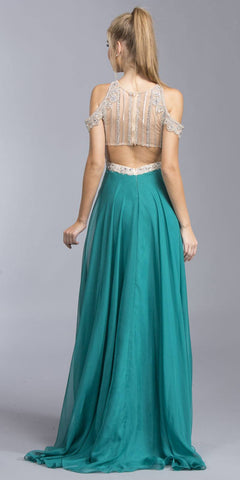 Teal Cold Shoulder Long Prom Dress Cut-Out Back