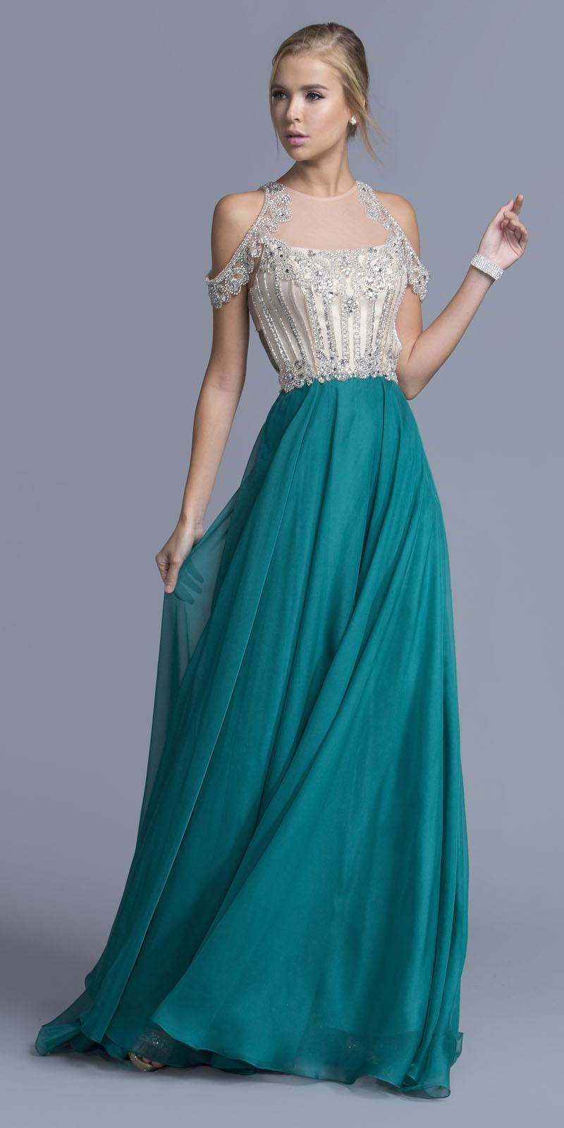 Aspeed USA L2059 Teal Cold Shoulder Long Prom Dress Cut-Out Back ...