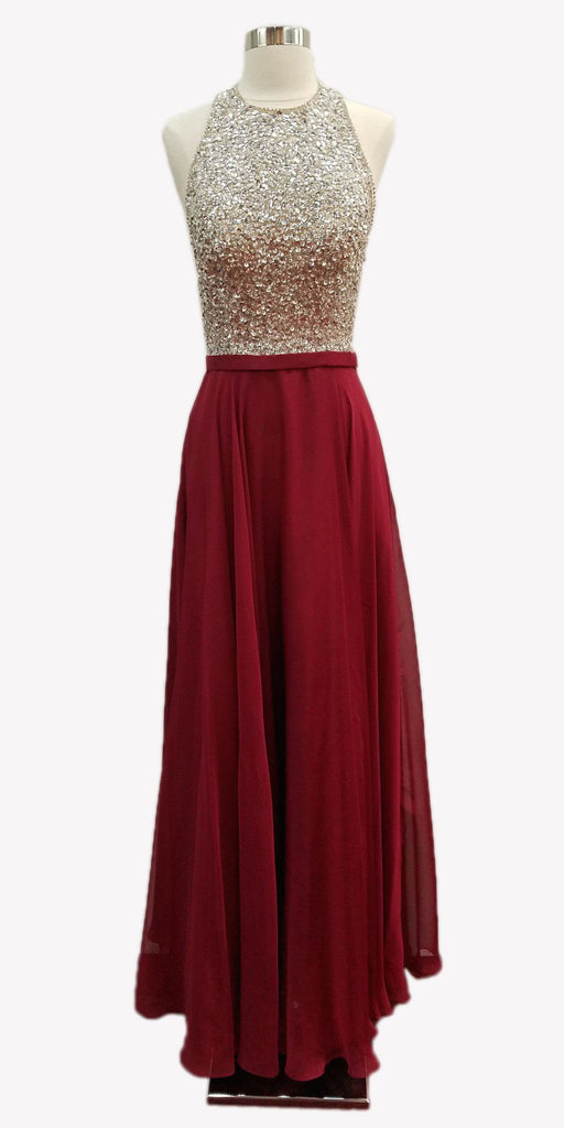 Burgundy A-line Long Formal Dress Halter Open-Back