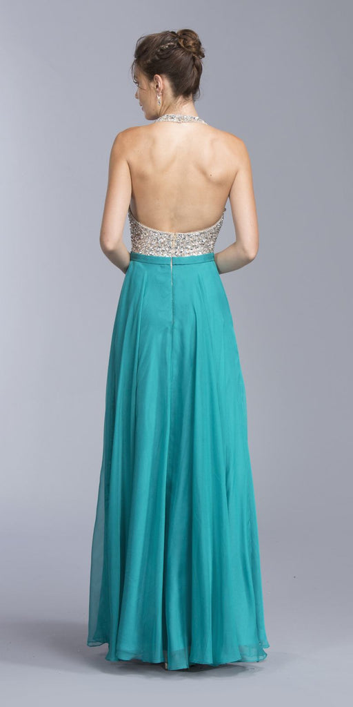 Teal A-line Long Formal Dress Halter Open-Back
