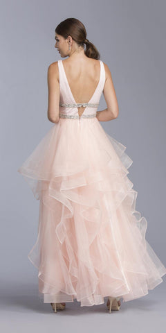 Blush Ruffled Long Prom Dress Deep V-Neck and Back