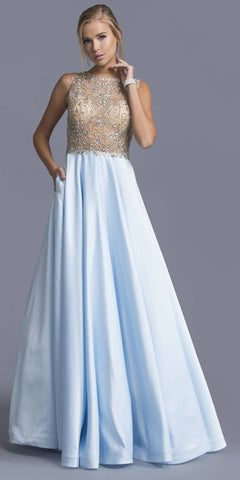 Light Blue Illusion Beaded Long Prom Dress with Pockets