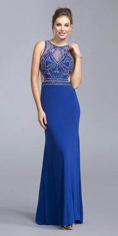 Royal Blue Cut-Out Back Beaded Long Prom Dress