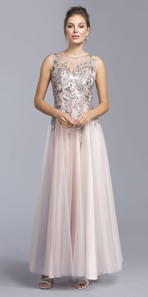 Blush/Silver Illusion Appliqued Long Formal Dress Sleeveless