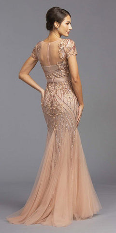 Embroidered Sequins Long Formal Dress Dusty Rose