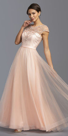 Illusion Beaded Long Prom Dress Blush