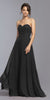 Black Strapless Appliqued Bodice Long Prom Dress
