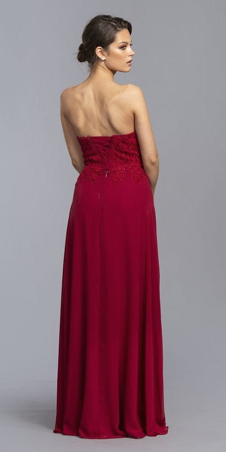 Burgundy Strapless Appliqued Bodice Long Prom Dress