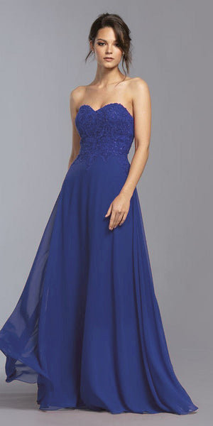 Royal Blue Strapless Appliqued Bodice Long Prom Dress
