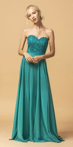 Jade Sweetheart Neckline Appliqued Long Formal Dress