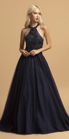 Long Satin Ball Gown Navy Blue Pink Beaded Criss Cross Keyhole Neckline