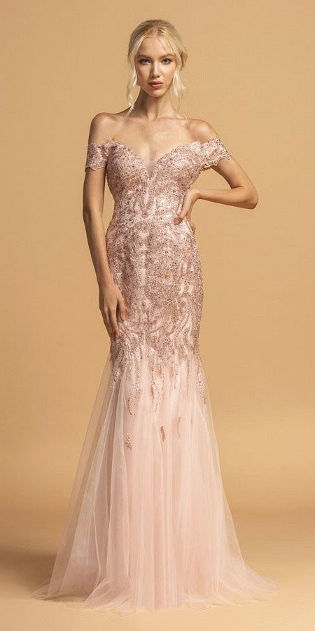 Blush Lace Applique Long Prom Dress Off-Shoulder