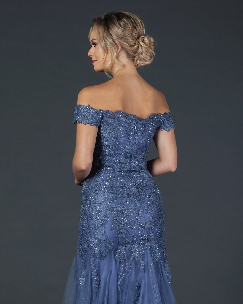 Aspeed L2091 Slate Blue Lace Applique Long Prom Dress Off-Shoulder