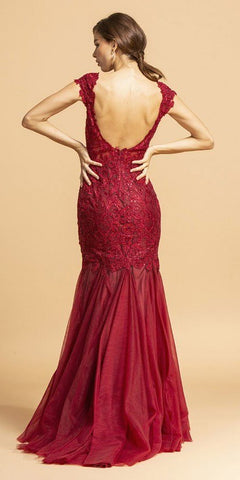 Appliqued Mermaid Long Prom Gown Cap Sleeves Burgundy