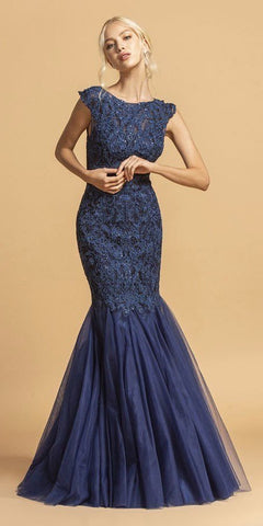 Appliqued Mermaid Long Prom Gown Cap Sleeves Navy Blue
