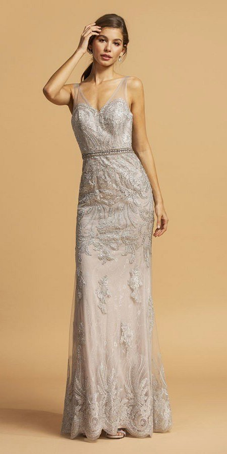 Illusion V-Neck Long Prom Dress with Appliques Silver