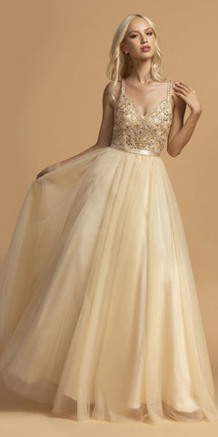 Champagne Beaded Bodice Long Prom Dress V-Neck