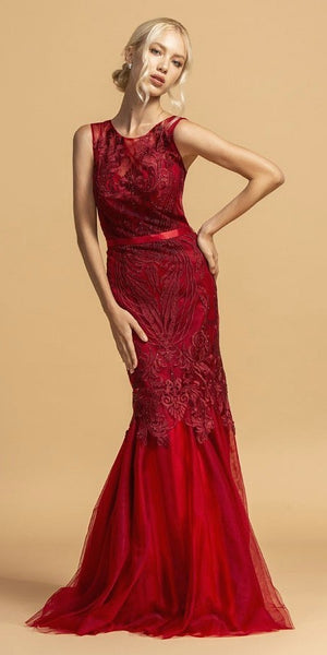 Burgundy Appliqued Mermaid Long Prom Dress