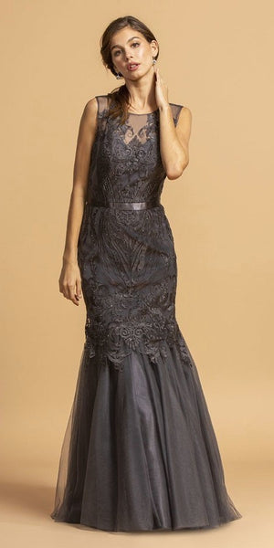 Charcoal Appliqued Mermaid Long Prom Dress