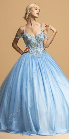French Blue Cold-Shoulder Long Quinceanera Dress