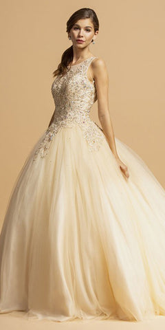 Champagne Prom Ball Gown with Cut-Out Corset Back