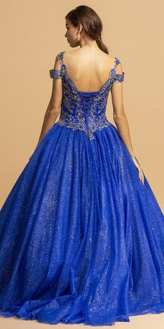 Royal Blue Cold-Shoulder Long Quinceanera Dress