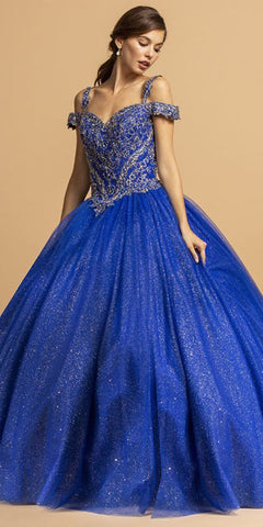 Navy Blue Appliqued Bodice Quinceanera Dress V-Neck