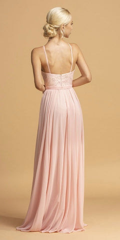 Halter A-Line Long Bridesmaids Dress Blush